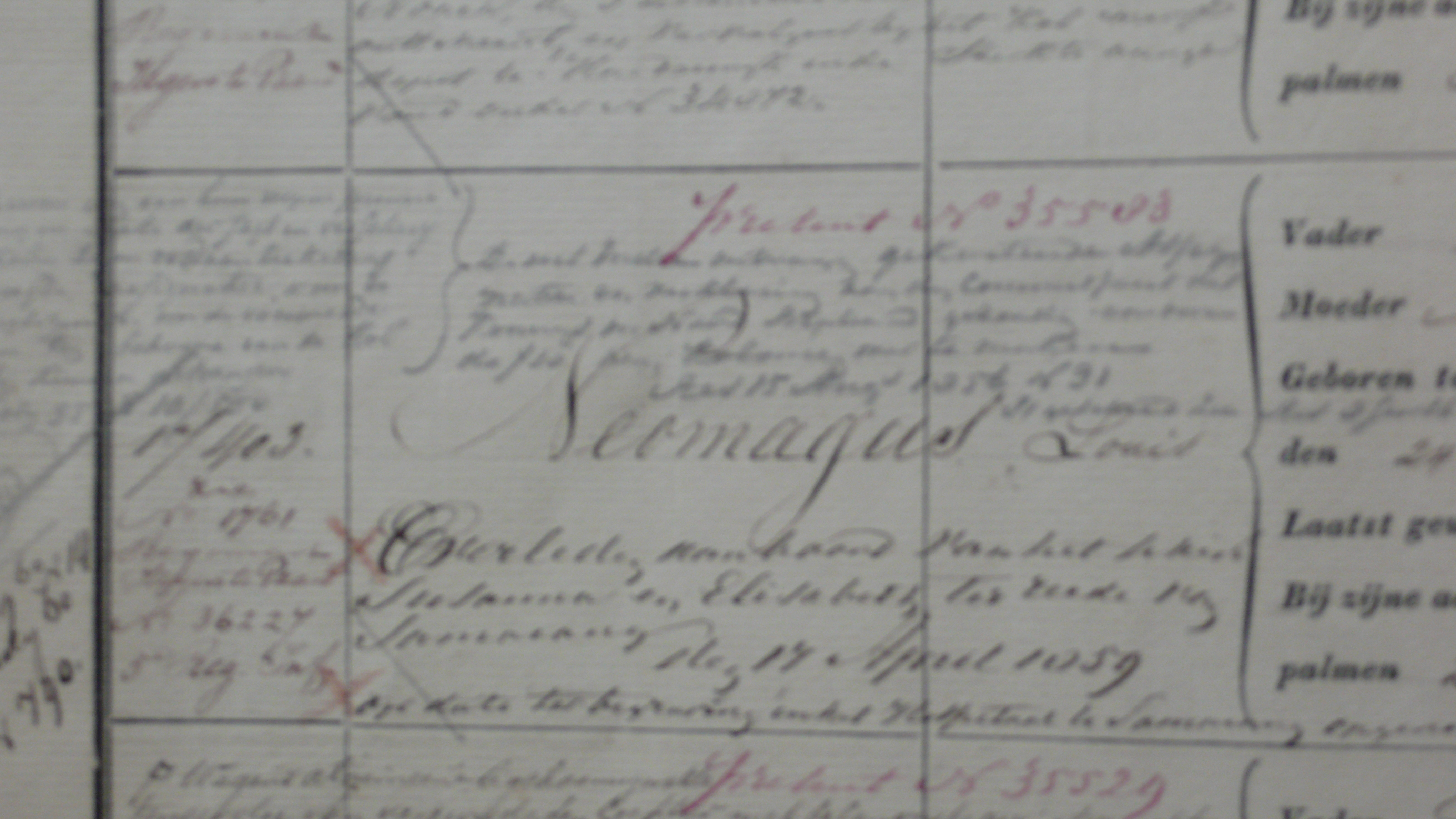 Detail uit het stamboek over Louis Neomagus, helaas onscherp.