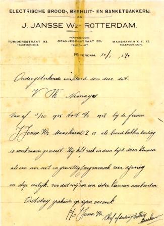 Aanbevelingsbrief van Victor: ijverig en eerlijk.