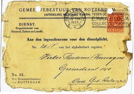 Kaart van de gemeente Rotterdam aan Victor na zijn terugkeer uit Amerika.