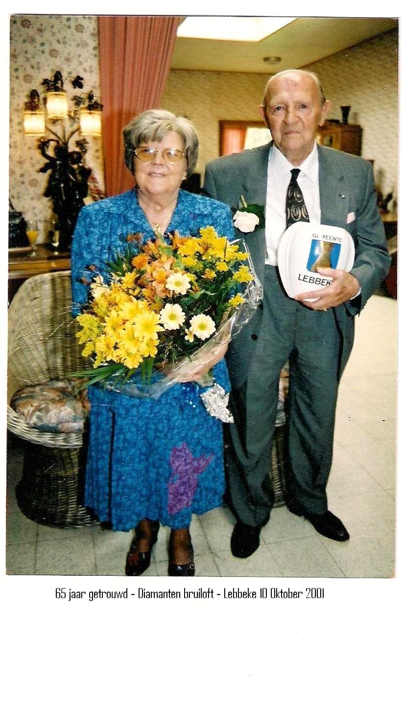 Victor en Martha 65 jaar getrouwd.