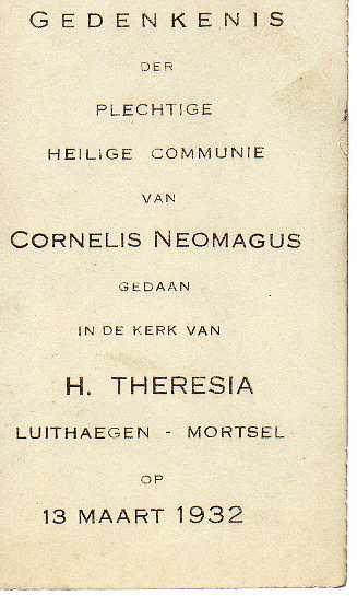 Tekst op het communieprentje van Cor.