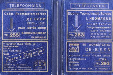 Omslag van een telefoongids met rechtsboven een advertentie van L. Neomagus.