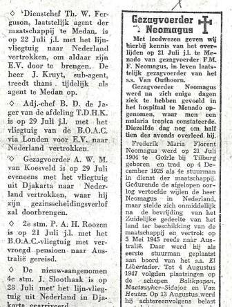 In memoriam Frits Neomagus in het personeelsblad van de KPM.