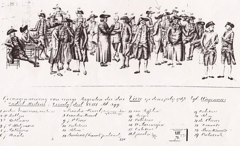Er is geen afbeelding bekend van slavenschipper Adriaan Jacobze en zijn zoon Adriaan, notaris en burgemeester van Veere. Wel is er deze tekening van de gevangenneming van de Oranjegezinde regenten op 2 juli 1787, door de patriotten. Nummer 18 is notaris Adriaan Jacobze.