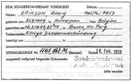 Overlijdensakte van George Eriksson.