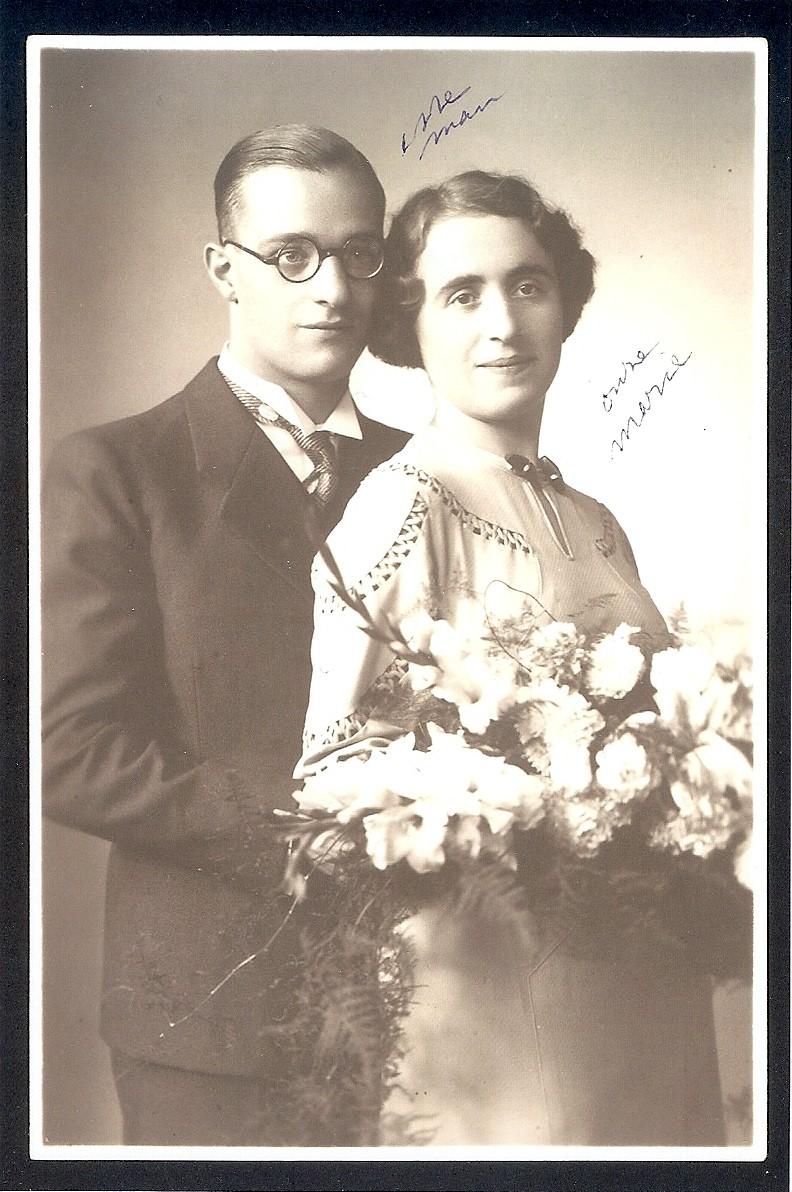 Trouwfoto van Marie en George, 1934.
