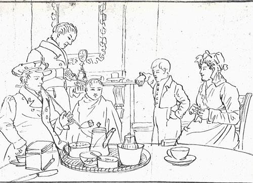 Tekening van de familie Van Pellecom-Wuijster. Abraham is in 1822 weduwnaar geworden en hertrouwt in 1825 Elisabeth Wuijster. Volgens de overlevering laat de tekening zien dat Mau wordt geknipt. Mau is zoon Marius Catharinus (1819). Het tafereel zal dus van 1825/1826 zijn.