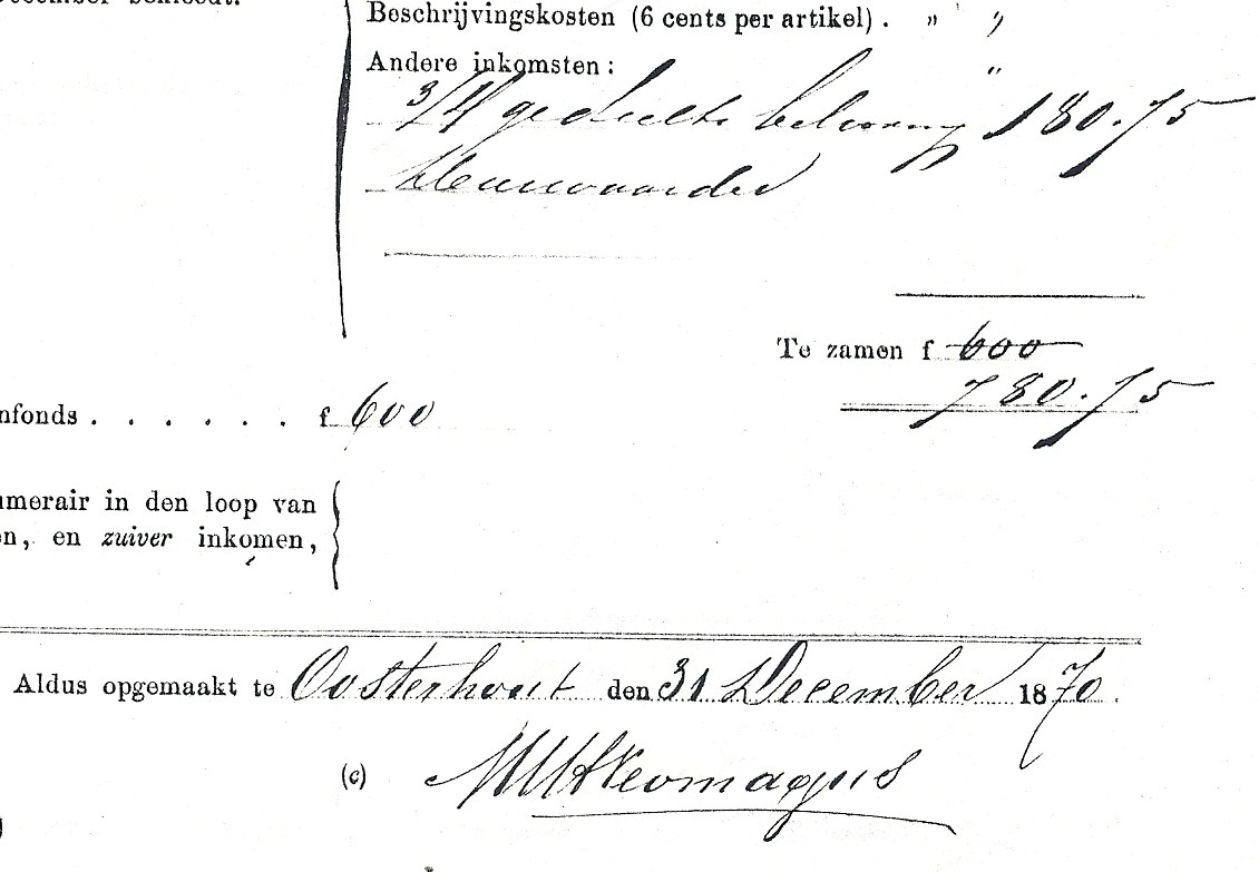 Handtekening van deurwaarder Marinus Neomagus (1816-1900) onder zijn signalementsstaat in 1870. Zie X-3.