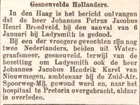 Bericht van het overlijden van Johannes, Jacobus, Hendrik, Karel van Nieuwmegen.