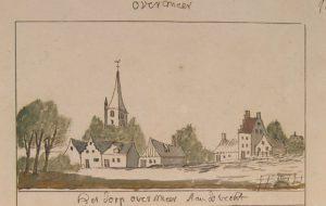 Het dorp Overmeer, getekend tussen 1710 en 1735. De afbeelding staat in de Schoemaker Atlas, te vinden in Het Utrechts Archief.