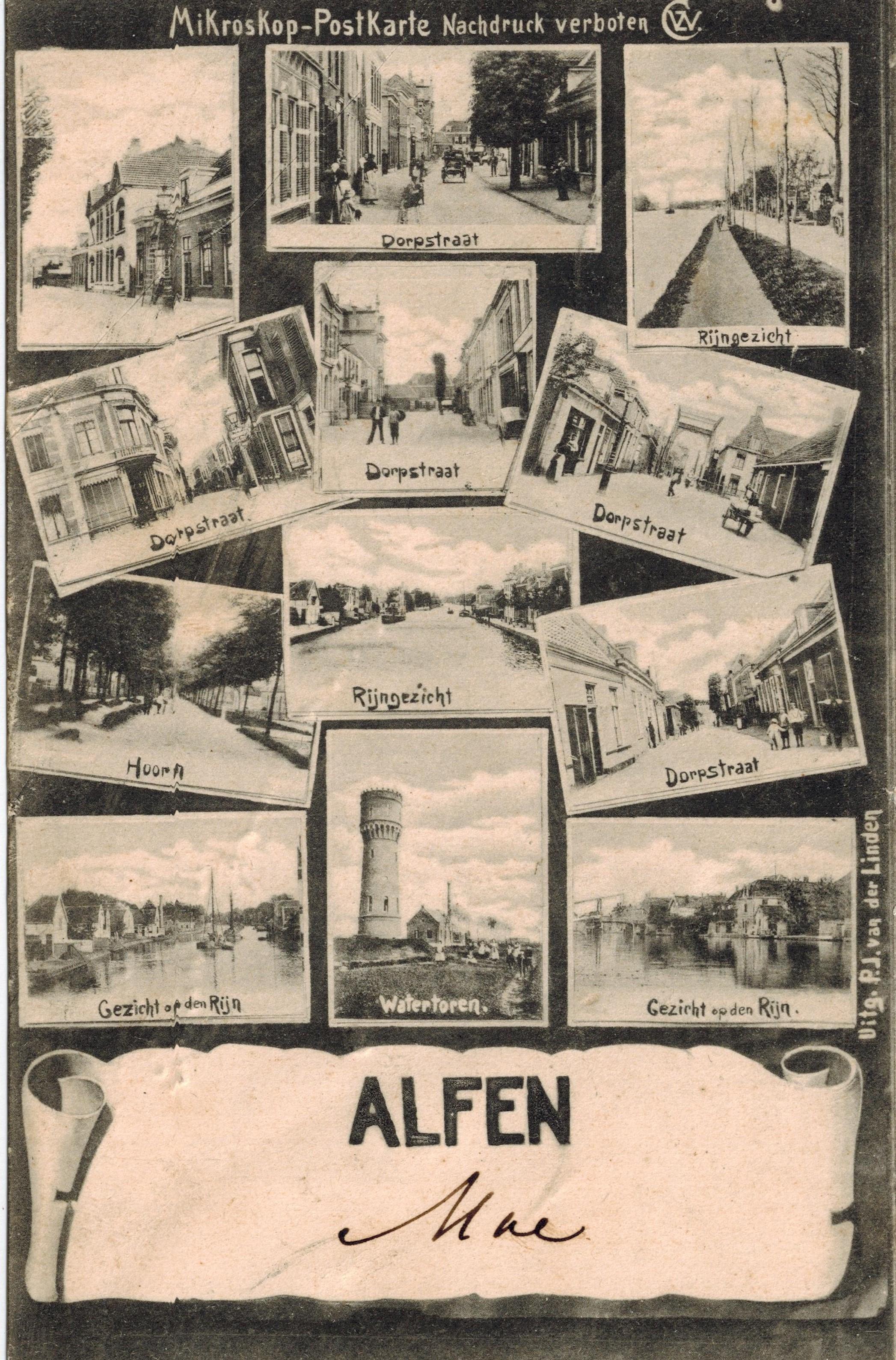 De briefkaart uit Alfen, afzender 'moe'.
