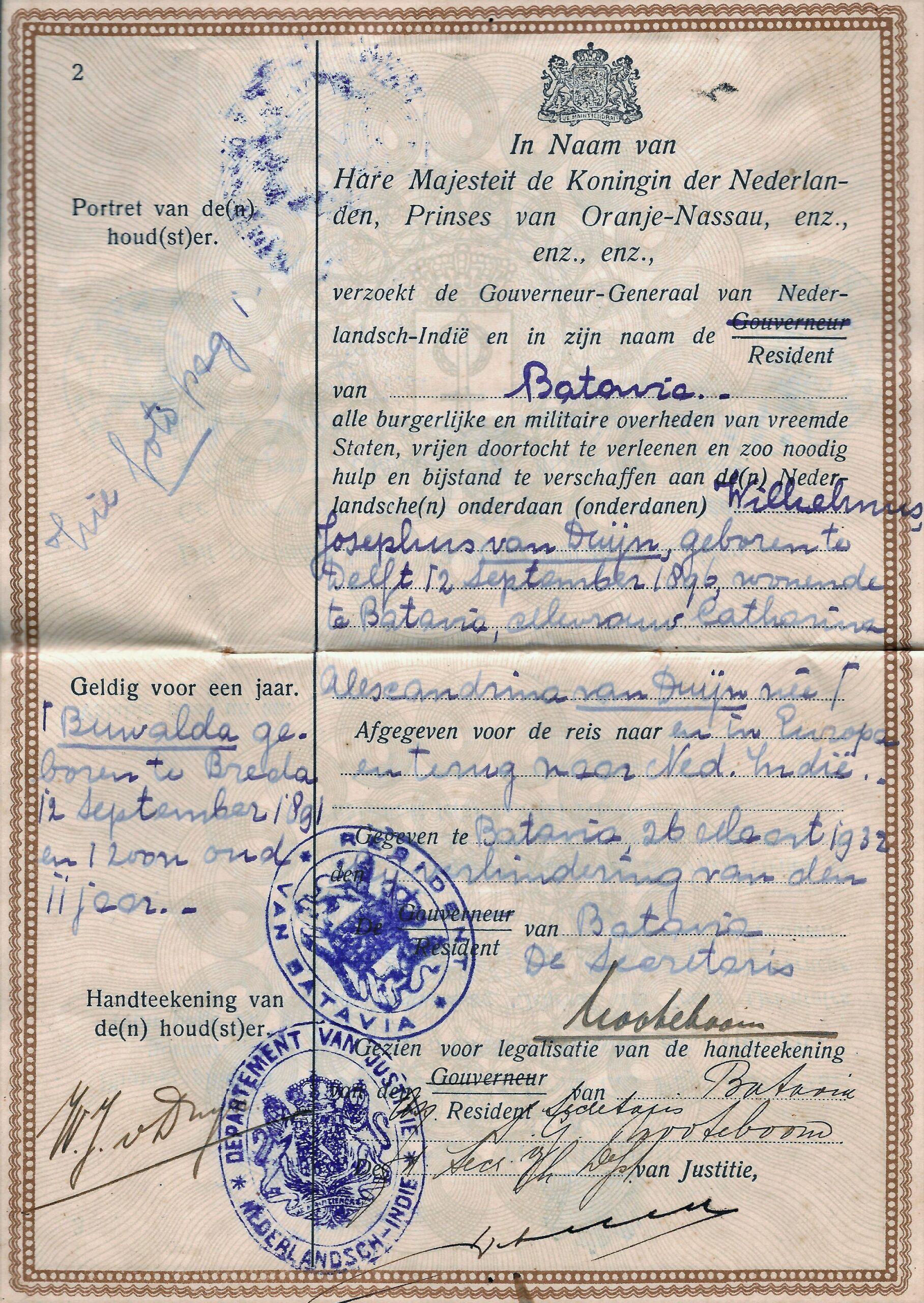 Titelblad van het paspoort van Willem van Duijn, 1932.
