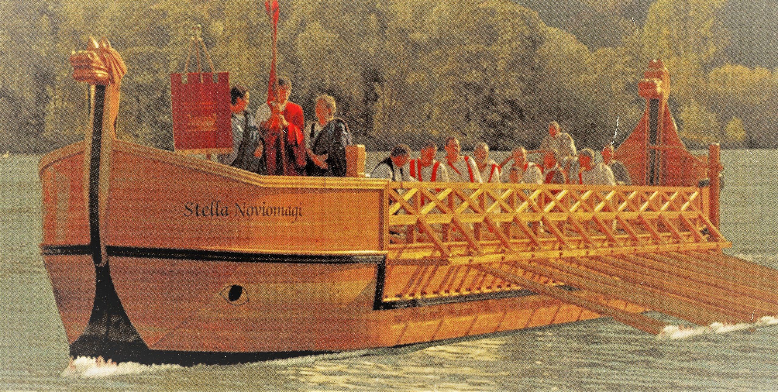 Dit Romeins galjoen met de naam Stella Noviomagi wordt gebruikt voor tochten over de Moezel bij Neumagen.