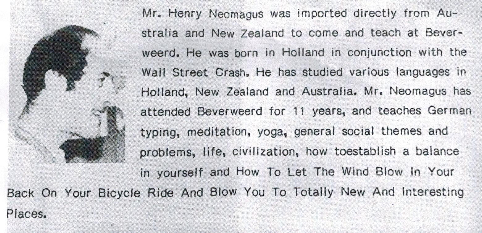 Tekst over Hein in een uitgave van de internationale school Beverweerd.